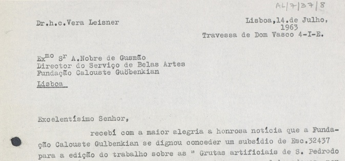 Digital copy of a letter written by Vera Leisner on July 14th, 1965, for the Fine Arts Service of the Calouste Gulbenkian Foundation