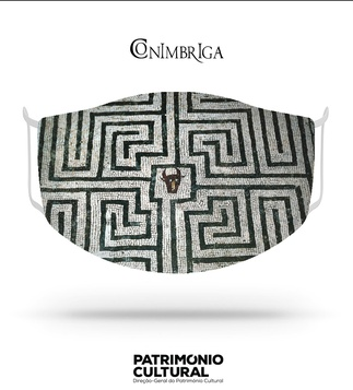 <p>Adaptation<br /><br />Reusable / washable social textile mask inspired by the Roman mosaic with square panel, containing the labyrinth and the head of the Minotaur of Casa dos Repuxos, from the 3rd century.<br /><br />- Size M<br />- Level 3 protection certified by CITEVE<br />- Composition: 100% polyester<br />- Includes 5 TNT filters<br />- Washable at 60º<br />- Made in Portugal<br /><br />Museu Monográfico de Conimbriga - Museu Nacional</p>